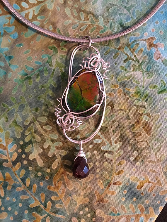 Ammonite and Garnet Silver Wire Wrapped Pendant, Wire Wrapped Necklace
