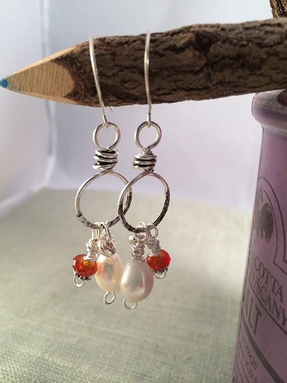 Carnelian & Pearl Sterling Silver Earrings, Handcrafted Silver Earrings, Pearls