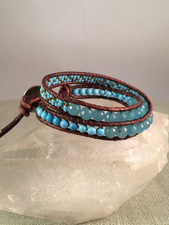 Turquoise & Leather Double Wrap Bracelet, Unisex Jewelry, Turquoise Bracelet