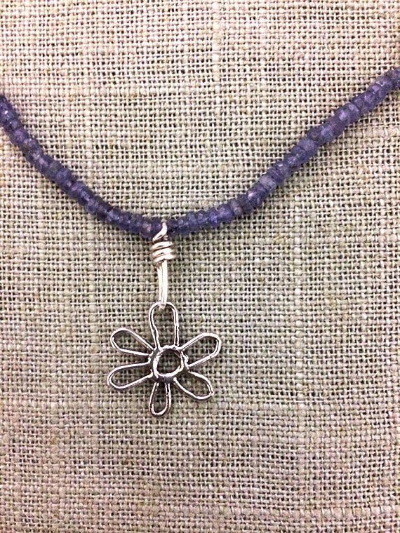 Iolite Necklace with Silver Flower Pendant, Faceted Gemstone Necklace
