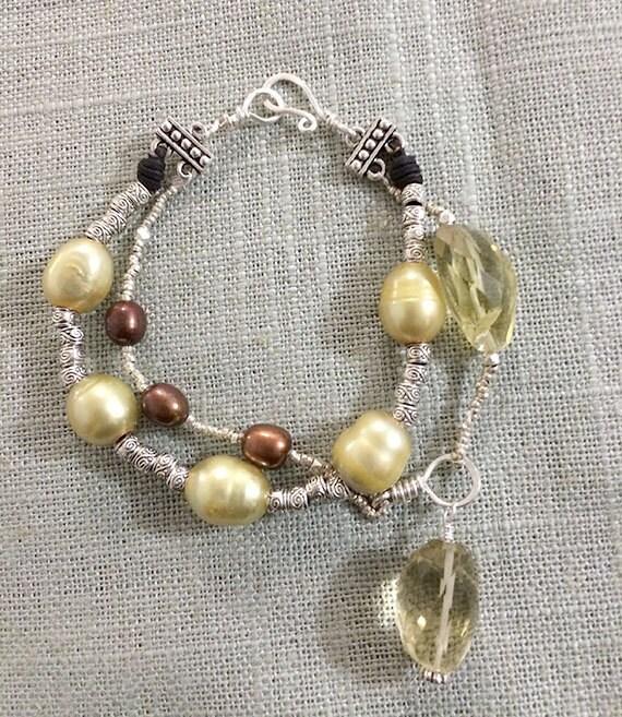 Genuine Pearl, Lemon Quartz & Silver Handcrafted Bracelet