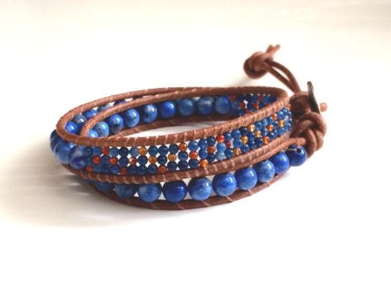 Denim Blue Double Wrap Gemstone Bracelet, Unisex Jewelry, Wrap Bracelet
