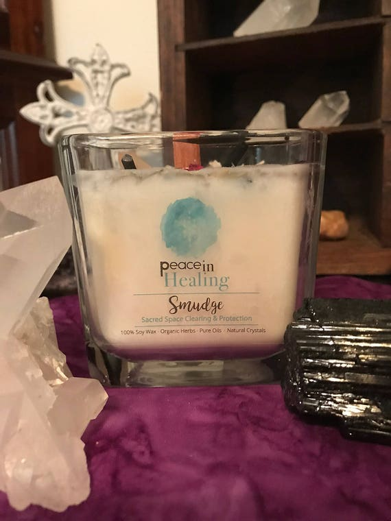 Smudge. Sacred Space and Protection Crystal Healing Candles