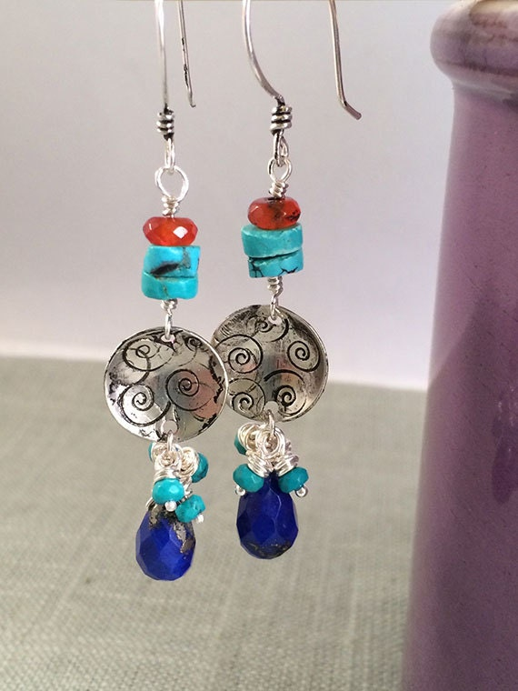 SALE WAS 85. NOW 55. Gemstone Dangle Earrings, Lapis, Turquoise Dangle Earrings, Silver Earrings