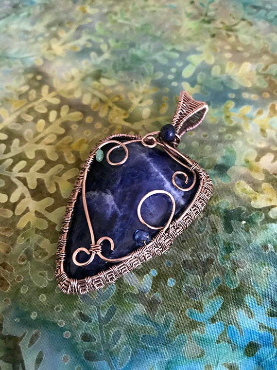 Sodalite in Copper Wire Weave, Wire Weaving, Wire Wrapped Pendant