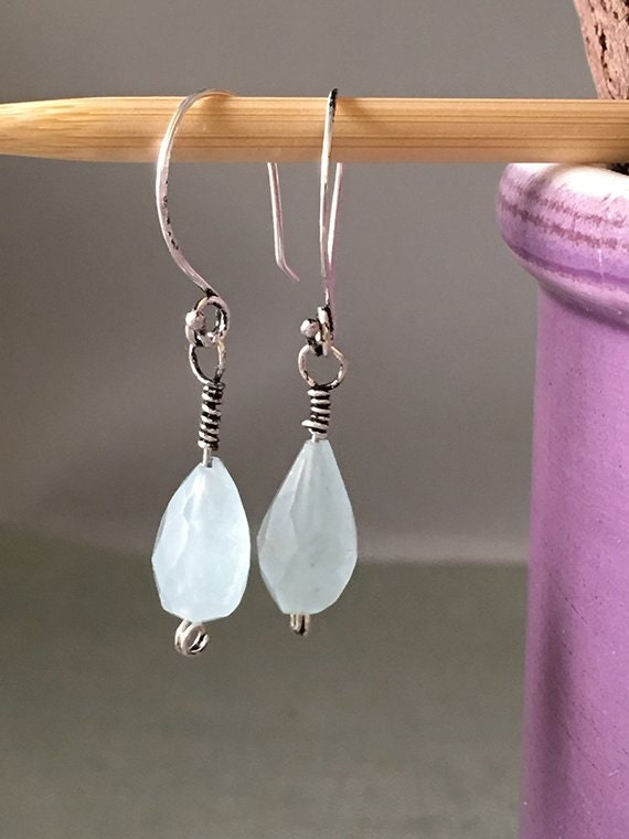 Simple Aquamarine Dangle Earrings, Wire Wrapped Aquamarine Earrings, Earrings, Aquamarine