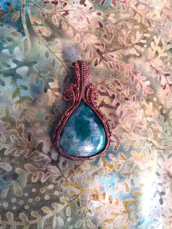 Chrysocolla Wire Wrapped Pendant, Chrysocolla Pendant, Chrysocolla Healing Jewelry, Communication Stone