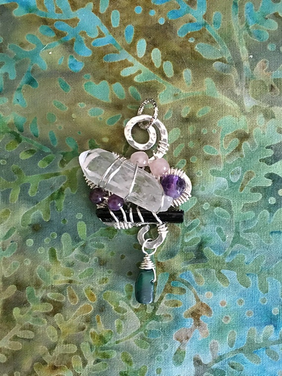 Wire Wrapped Crystal Point, Empath Protection, Healing Jewelry, Quartz, Tourmaline, Rose Quartz Wire Wrapped Pendant