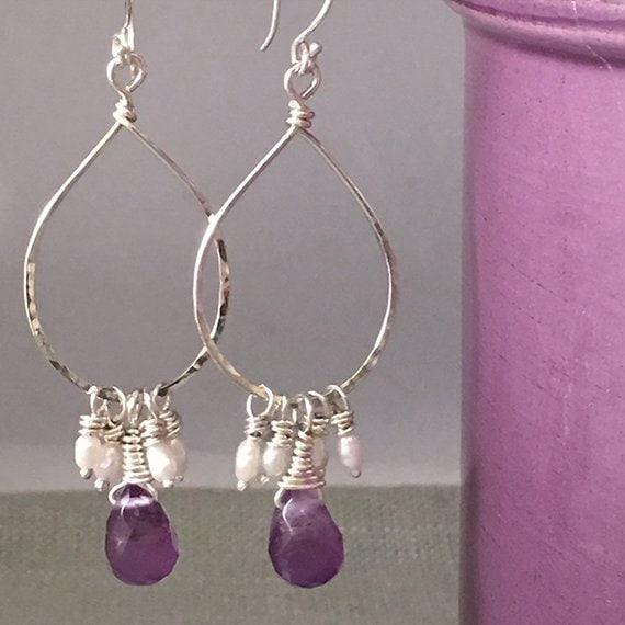 Amethyst and Pearl Hoop Wire Wrapped Earrings, Silver Hoop with Amethyst and Pearl Dangle Earrings