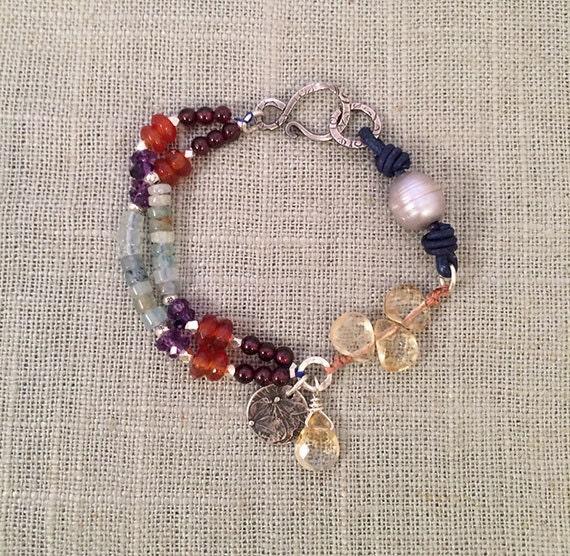 Multi Gemstone Charm Bracelet, Charm Bracelet, Boho Style Jewelry