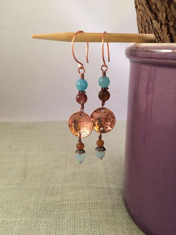 Repurposed Copper and Agate Drop Earrings, Dangle Earrings, Blue Agate Disc Earrings