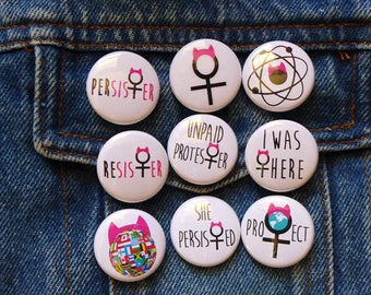 Anti Trump Pin, Protest Buttons, Pink Cat Ears Pins, Pink Hat Women's March Pins, Cat Hat Buttons, Refugees Welcome Protester Pins