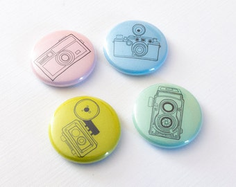 Vintage Camera Pins, Pinback Buttons, Photography Buttons, Retro Camera Backpack Pins, Photographer Gift, Lapel Pins