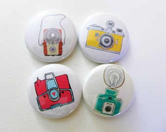 retro camera pins, photographer gift, vintage cameras, pinback buttons, photography buttons,  backpack pins or cute camera magnets