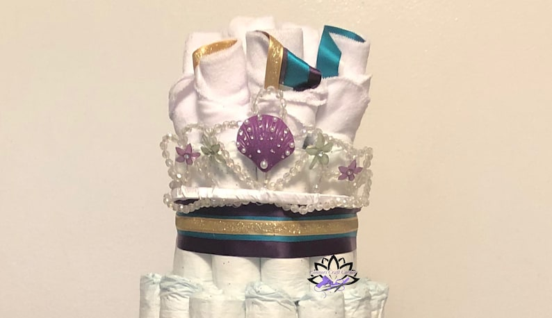 Mermaid Under-The-Sea  4 Tier Diaper Cake  Rosette Crown Topper  Wearable  Tutu skirt Centerpiece Baby Shower Decor