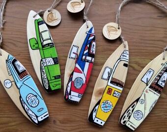 Personalised Mini wooden Surfboard handmade with surfing or VW Camper Van Artwork