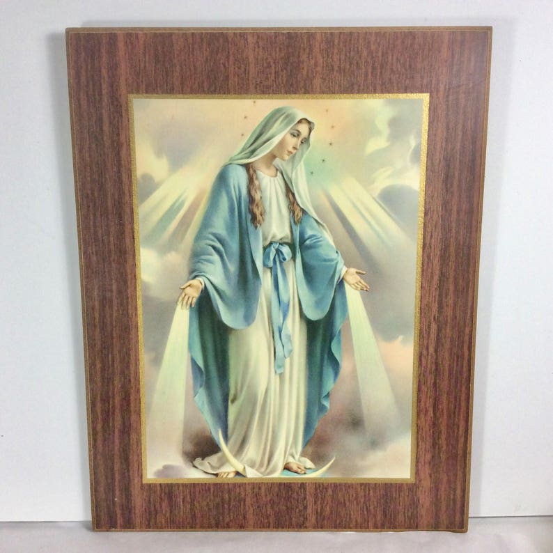 911883da915be Vintage Virgin Mary laminated cork board print blessed. Free ship to US