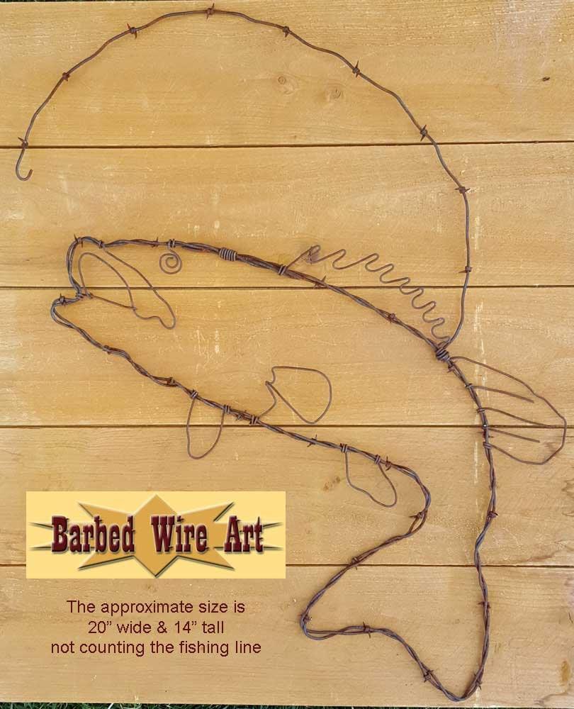 Jumbo Bass Fish Handmade metal decor barbed wire art country | Etsy