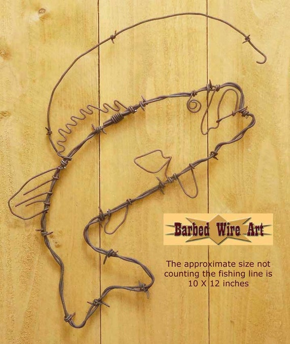 Bass Fish Handmade metal decor barbed wire art country   Etsy