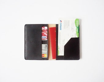 Black Leather Passport Cover/ Sleeve with Credit Card & boarding pass insert / pocket / slot, Hand-stitched with Vegetable Tanned Leather