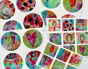 Art Stickers - SET 2 - set of 30 - mixed size - original designs