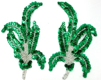 "Choice of Color Leaf Pair Applique, Sequin Beaded, 6"" x 3.5""  -Green 8060-1148, Bronze-0111-1148"