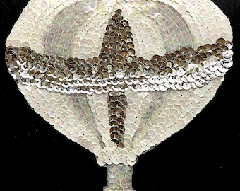 """Hot Air Balloon with White, Iridescent, Silver Sequins and Beads, 6.75"""" x 6""""  -B056"""