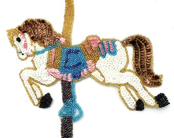 "Choice of Size Carousel Horse, Sequin Beaded, 9""-B018,  5""-B017"