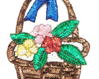 "Flower Easter Basket, Sequin Beaded, 9"" x 6.5""  -B282"