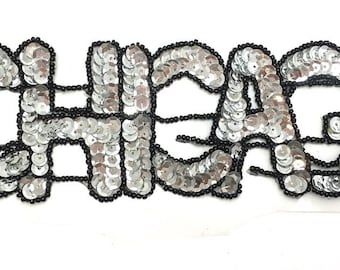 """Chicago Applique, Silver Sequins, Windy Black Beads, 10"""" x 3""""  -1485-0024"""
