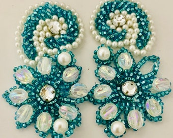 """Flower Pair Designer with Turquoise Beads and Pearls and Rhinestone 3"""" x 3"""""""