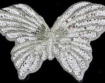 """Choice Silver or Gold Butterfly Appliqué, Sequin Beaded,  9"""" x 6""""  -Silver-AnimalBox 5W-2; Gold-AnimalBox 5N-2 & 5P-1"""