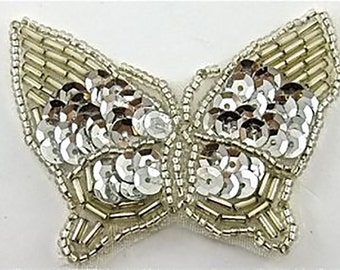 """Butterly Appliqué with Silver Sequins and Beads  2"""" x 2""""  -9694-1204"""