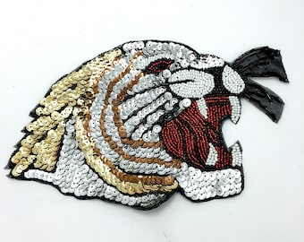 "Tiger Applique, Sequin Beaded, 8.25"" x 5.5""  -B241"