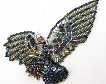 """Eagle Applique with Moonlight and Silver Sequins and Beads, 4.5"""" x 2""""  -14658-0216"""