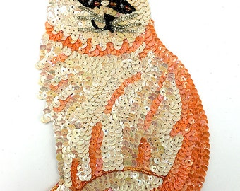 "Cat Applique, Sequin Beaded, 7.25"" x 4.5""  -16060"