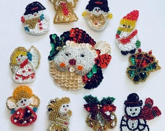 Assorted Christmas sequin and beaded appliques
