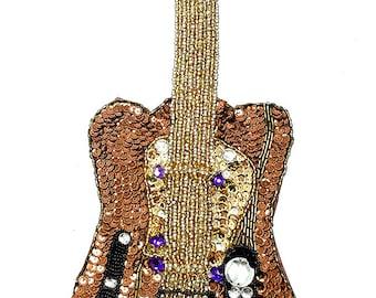 "Sale! Guitar Applique, Sequins Beads and Costume Jewels, 13"" x 4.5"" -jj326xl-B086-1664-0267"