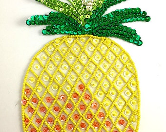 "Pineapple Appliqué, Sequin Beaded, 10"" x 5"" -B087-0335-0336"