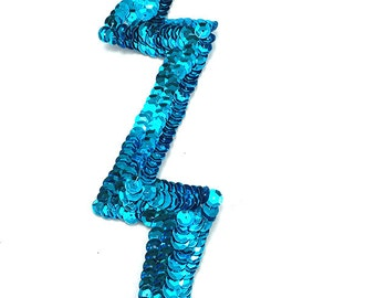 "xLightning Bolt Appliqué, Choice of Color  8"" x 2""  Turquoise, Pinkish Mauve, Purple - LighteningBoltBox 1A-10, 1C"