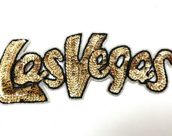 "Las Vegas Applique, Gold and Black Sequin Beaded, 8"" x 3""  -2938-0153-0219-0151"