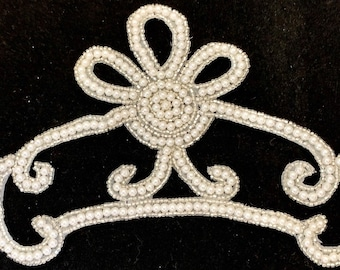 Designer Pearl and Silver Beaded applique