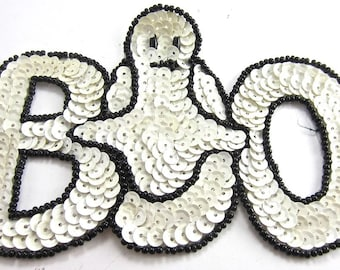 "Halloween Boo with Ghost, Sequin Beaded, 5"" x 3.5"" -3838-0235"