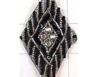 """Designer Motif with Black Silver Sequins and Beads 3"""""""