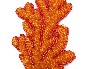 "Beaded Coral Applique, 3.5"" x 2"", -JJ930G-B300-0065"