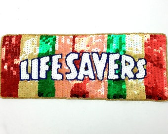"Candy Lifesavers Applique, Sequin Beaded, 11"" x 4.25""  -B046"