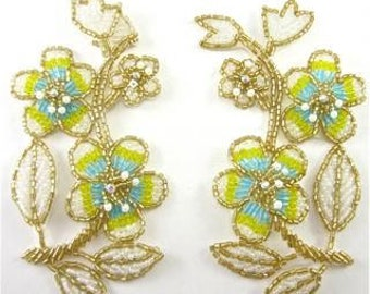 """Flower Pair with Yellow and Turquoise and Gold Beads AB Rhinestones 5"""" x 2.5"""