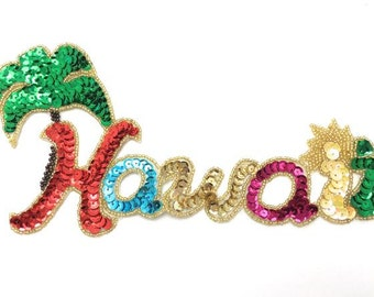 "Hawaii Applique, Sequin Beaded, 8.5"" x 4.5"",  -JJ3010-B313-0016-0241"