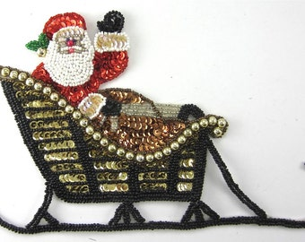 "Santa in Sleigh Waving, Sequin Beaded, 8.5"" x 5.5"" - 2849-0241"