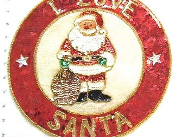 "I Love Santa Sequin and Beaded Patch 12"" - JJX812-Box35"